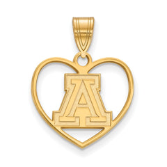 Sterling Silver w/GP LogoArt University of Arizona Pendant in Heart