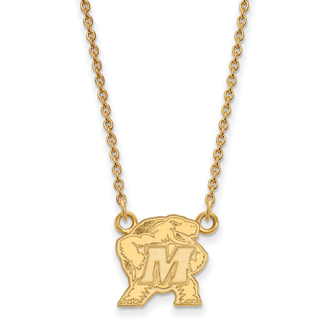 10ky LogoArt University of Maryland Small Pendant w/Necklace