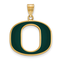 Sterling Silver w/GP LogoArt University of Oregon Large Enamel Pendant