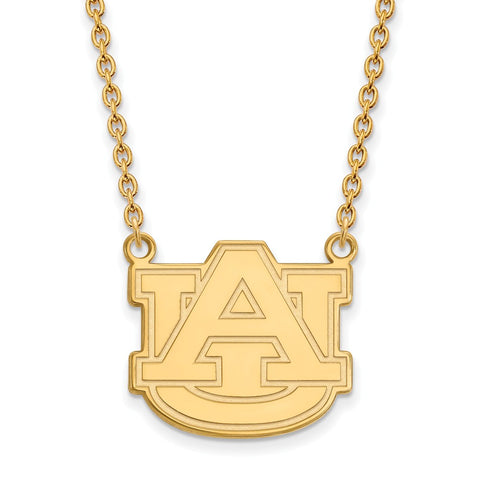Sterling Silver w/GP LogoArt Auburn University Large Pendant w/Necklace