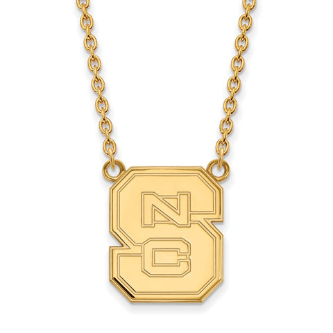 10ky LogoArt North Carolina State University Large Pendant w/Necklace