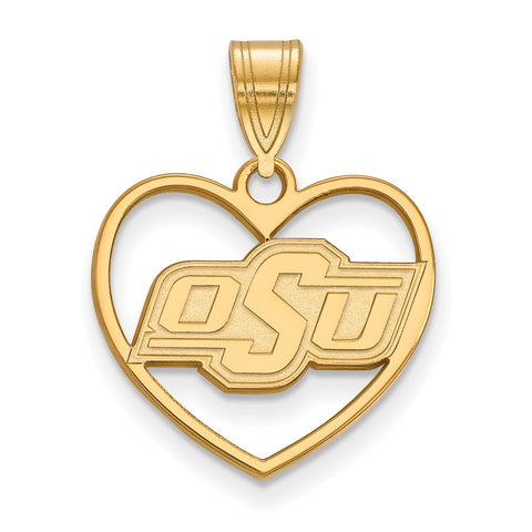 Sterling Silver w/GP LogoArt Oklahoma State University Pendant in Heart