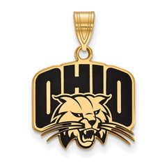 Sterling Silver w/GP LogoArt Ohio University Medium Enamel Pendant