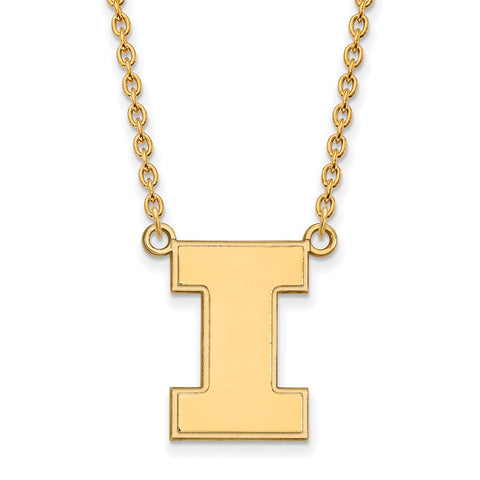 10ky LogoArt University of Illinois Large Pendant w/Necklace
