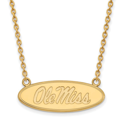 10ky LogoArt University of Mississippi Large Pendant w/Necklace
