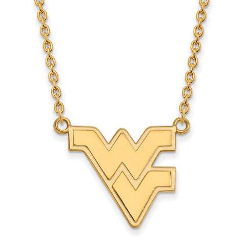 10ky LogoArt West Virginia University Large Pendant w/Necklace