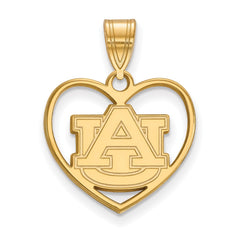 Sterling Silver w/GP LogoArt Auburn University Pendant in Heart