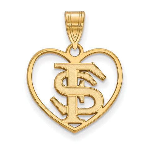 Sterling Silver w/GP LogoArt Florida State University Pendant in Heart