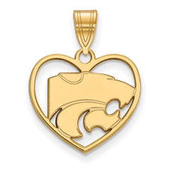 Sterling Silver w/GP LogoArt Kansas State University Pendant in Heart