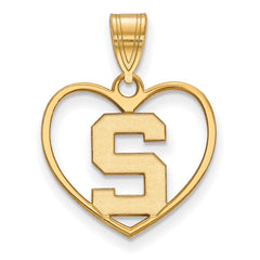 Sterling Silver w/GP LogoArt Michigan State University Pendant in Heart
