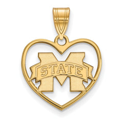 Sterling Silver w/GP LogoArt Mississippi State University Pendant in Heart