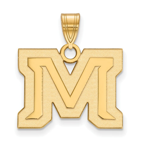 Sterling Silver w/GP LogoArt Montana State University Medium Pendant