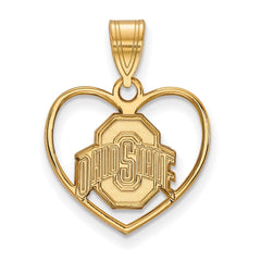 Sterling Silver w/GP LogoArt Ohio State University Pendant in Heart