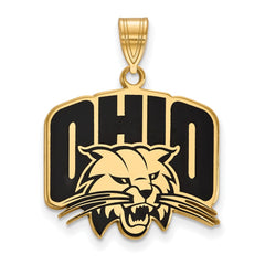 Sterling Silver w/GP LogoArt Ohio University Large Enamel Pendant