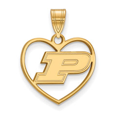 Sterling Silver w/GP LogoArt Purdue University Pendant in Heart