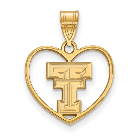 Sterling Silver w/GP LogoArt Texas Tech University Pendant in Heart