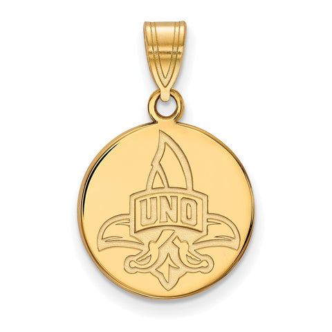 14ky LogoArt University of New Orleans Medium Disc Pendant