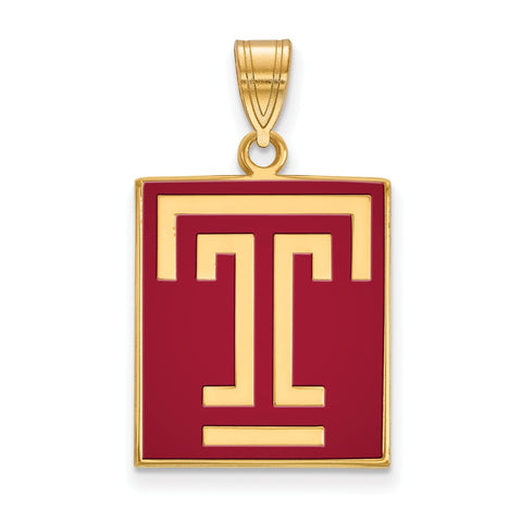 Sterling Silver w/GP LogoArt Temple University Large Enamel Pendant