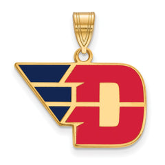 Sterling Silver w/GP LogoArt University of Dayton Medium Enamel Pendant