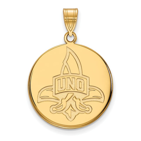 14ky LogoArt University of New Orleans Large Disc Pendant