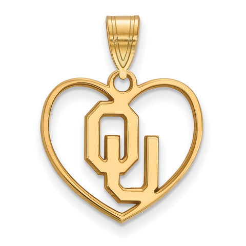 Sterling Silver w/GP LogoArt University of  Oklahoma Pendant in Heart