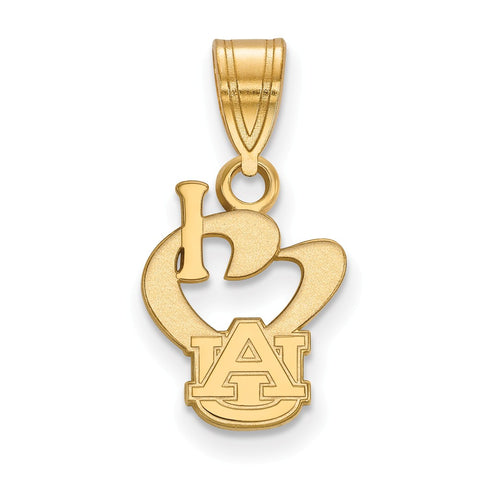 Sterling Silver w/GP LogoArt Auburn University Small I Love Logo Pendant