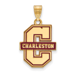 Sterling Silver w/GP LogoArt College of Charleston Enamel Large Pendant
