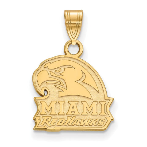 Sterling Silver w/GP LogoArt Miami University Small Pendant