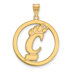 Sterling Silver w/GP LogoArt University of Cincinnati L Pendant in Circle