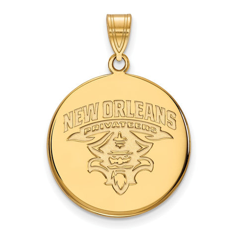 10ky LogoArt University of New Orleans Large Disc Pendant
