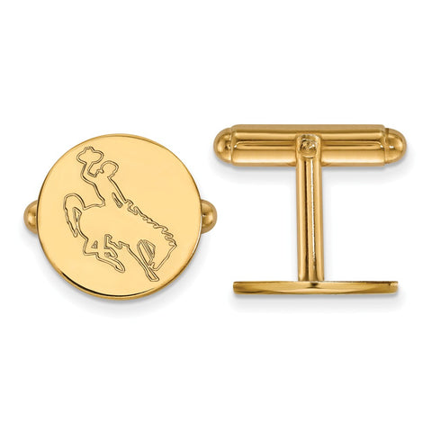14ky LogoArt The University of Wyoming Disc Cuff Link