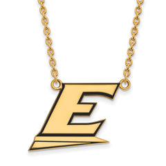 Sterling Silver w/GP LogoArt Eastern Kentucky U Lg Enl Pendant w/Necklace