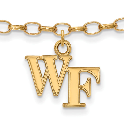 Gold Plated Sterling Silver Logoart Wake Forest University Demon Deacons Anklet