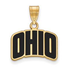Sterling Silver w/GP LogoArt Ohio University Small Enamel Pendant