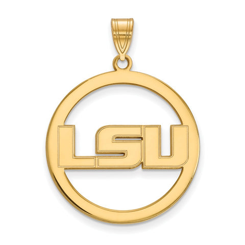 Sterling Silver w/GP LogoArt Louisiana State University XL Pendant in Circl