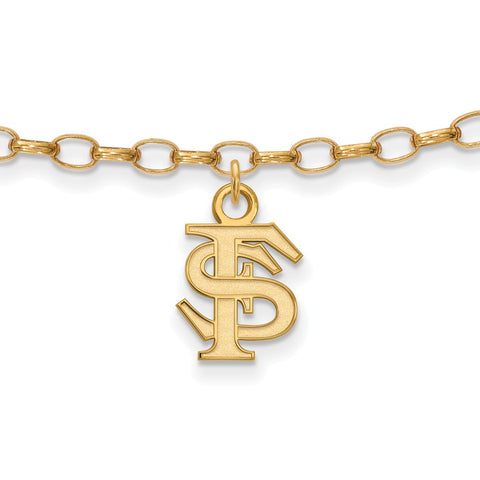 Sterling Silver w/GP LogoArt Florida State University Anklet