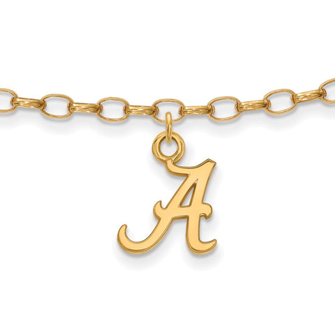 Sterling Silver w/GP LogoArt University of Alabama Anklet