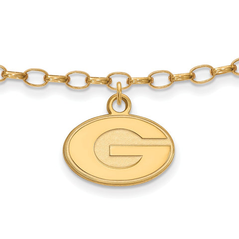 Sterling Silver w/GP LogoArt University of Georgia Anklet