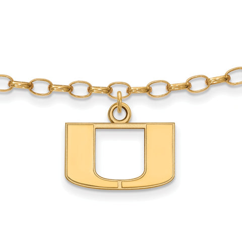 Gold Plated Sterling Silver Logoart University Of Miami Hurricanes Anklet