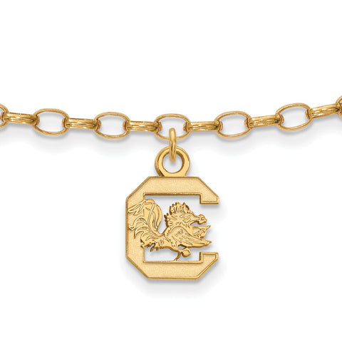 Gold Plated Sterling Silver Logoart University Of South Carolina Gamecocks Anklet