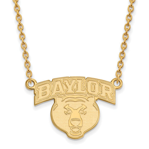 10ky LogoArt Baylor University Large Pendant w/Necklace