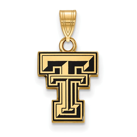 Sterling Silver w/GP LogoArt Texas Tech University Small Enamel Pendant