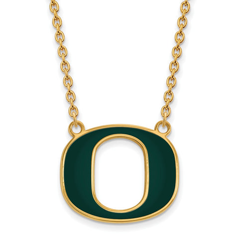 Sterling Silver w/GP LogoArt U of Oregon Large Enamel Pendant w/Necklace