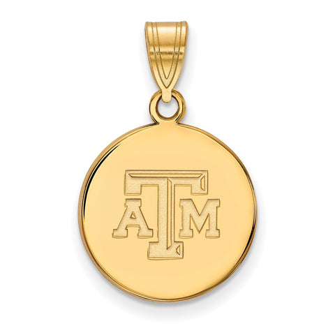 10ky LogoArt Texas A&M University Medium Disc Pendant