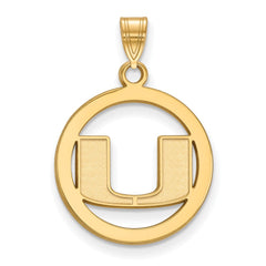 Sterling Silver w/GP LogoArt University of Miami Medium Pendant in Circle