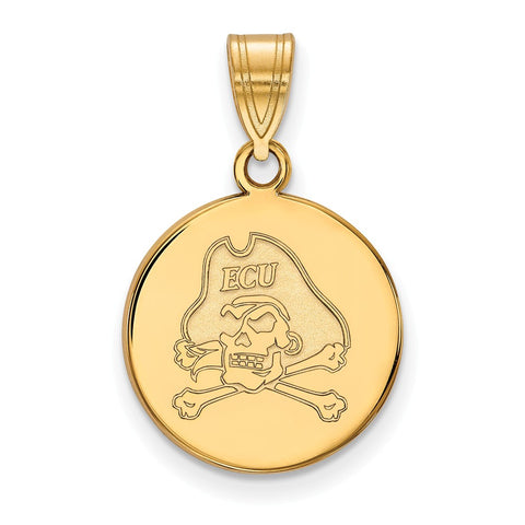10ky LogoArt East Carolina University Medium Disc Pendant