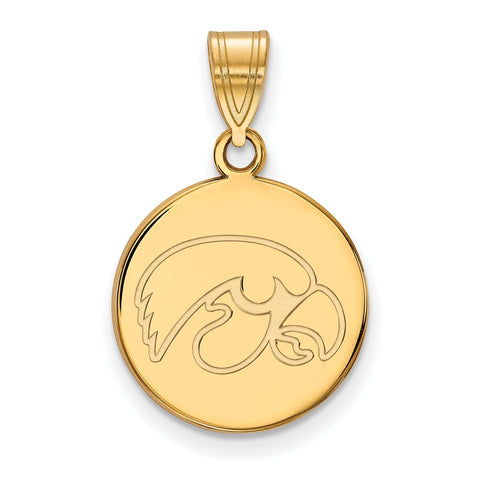 14ky University of Iowa Medium Disc Pendant