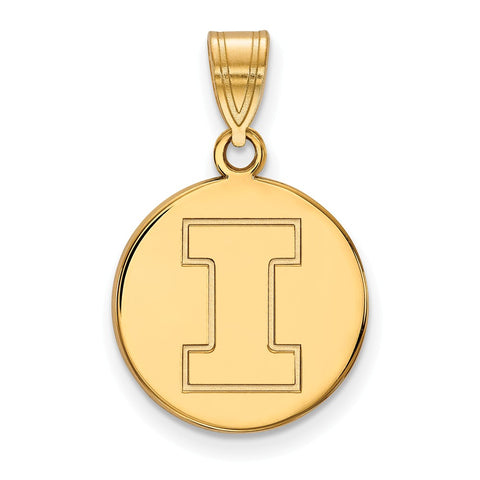 10ky LogoArt University of Illinois Medium Disc Pendant