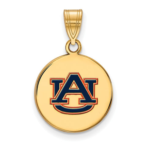 Sterling Silver w/GP LogoArt Auburn University Medium Enamel Disc Pendant