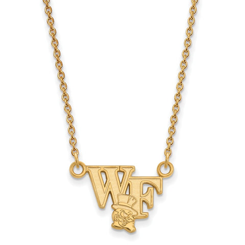 10ky LogoArt Wake Forest University Small Pendant w/Necklace